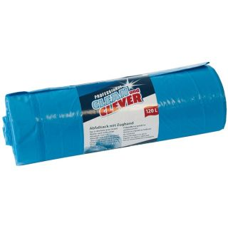 CLEAN and CLEVER Abfallsack Zugband PRO180 blau 120 L LDPE 10x25 Stck